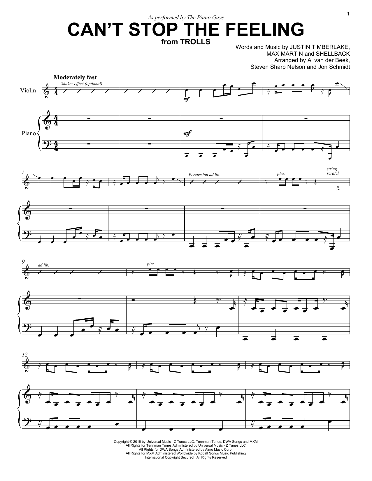 Can't Stop The Feeling (Violin and Piano)