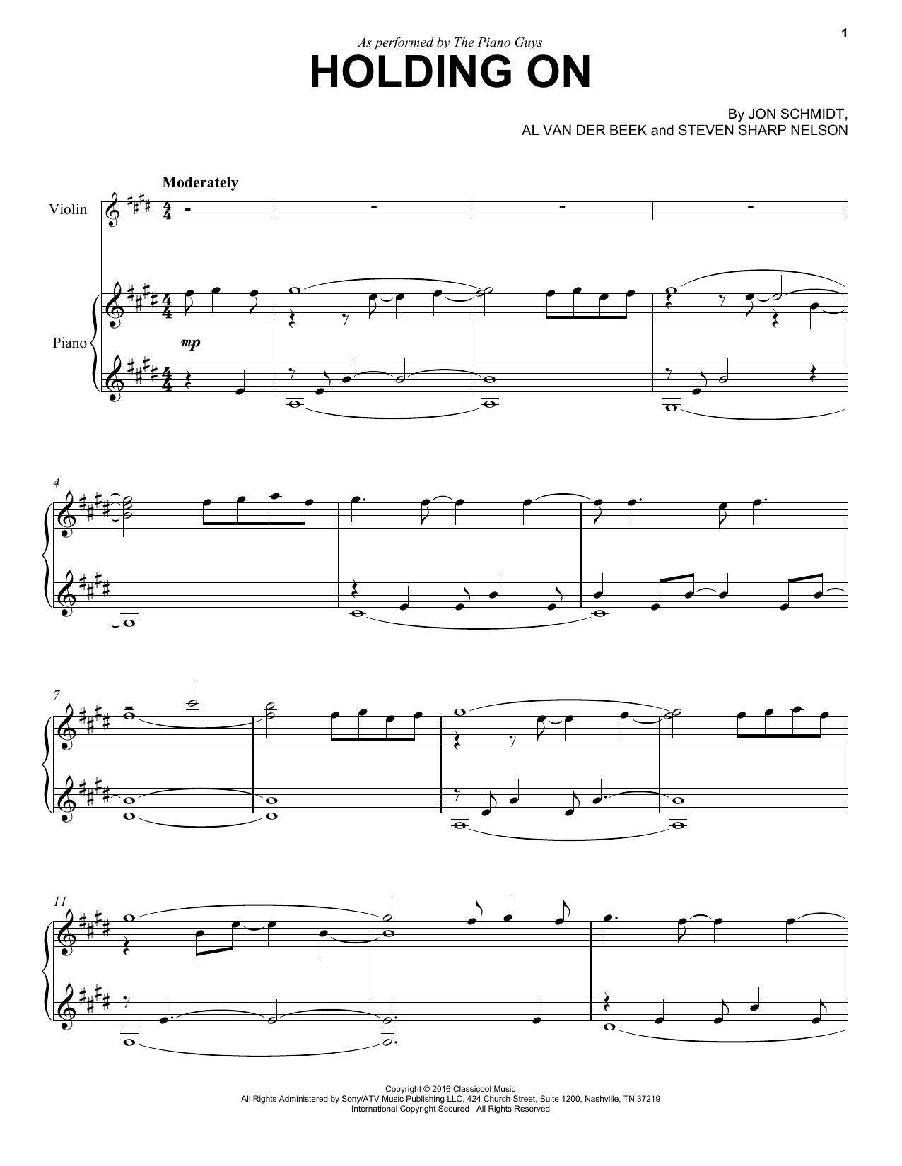 Holding On Sheet Music
