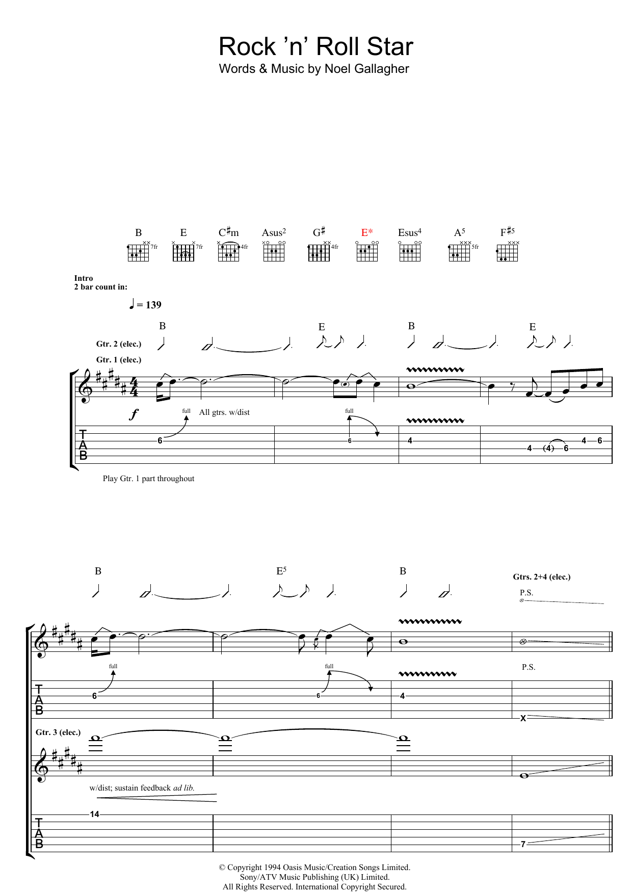 Sheet Music Digital Files To Print Licensed Noel Gallagher Digital Sheet Music