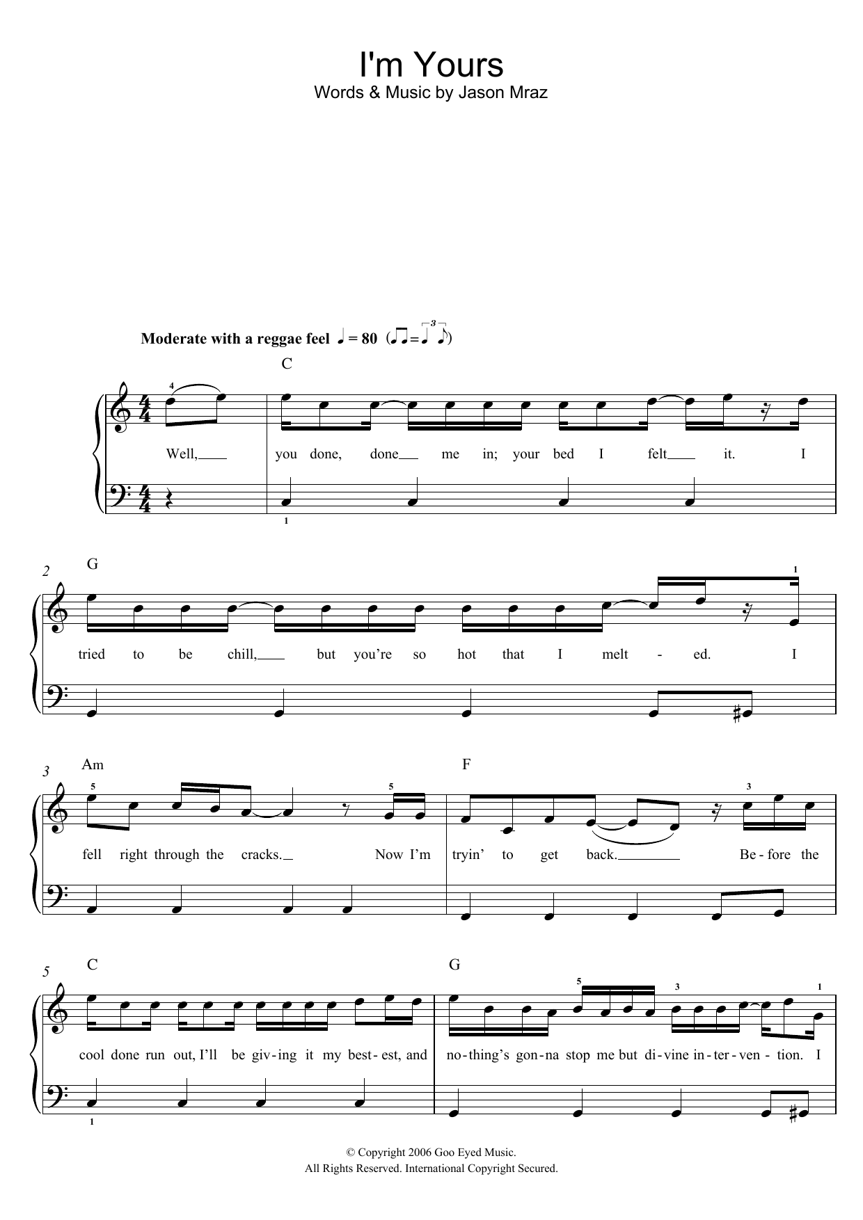 I'm Yours by Jason Mraz Piano, Vocal & Guitar (Right-Hand Melody) Digital  Sheet Music