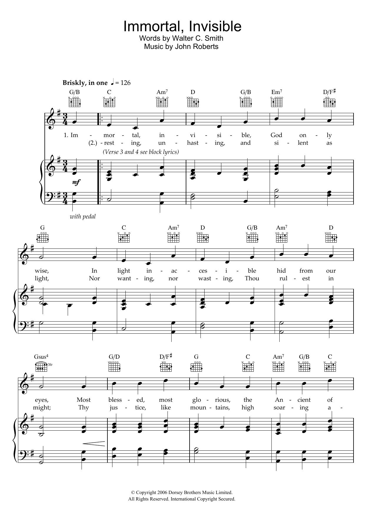 Immortal, Invisible (Piano, Vocal & Guitar)