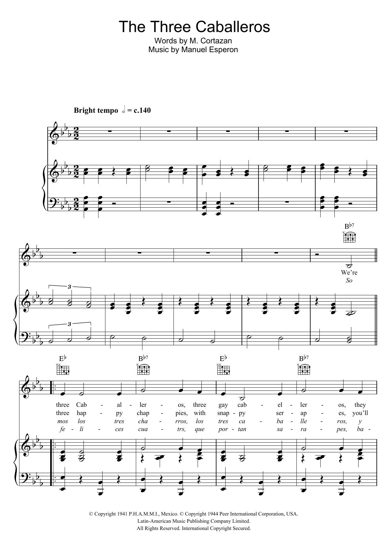 The Three Caballeros Sheet Music