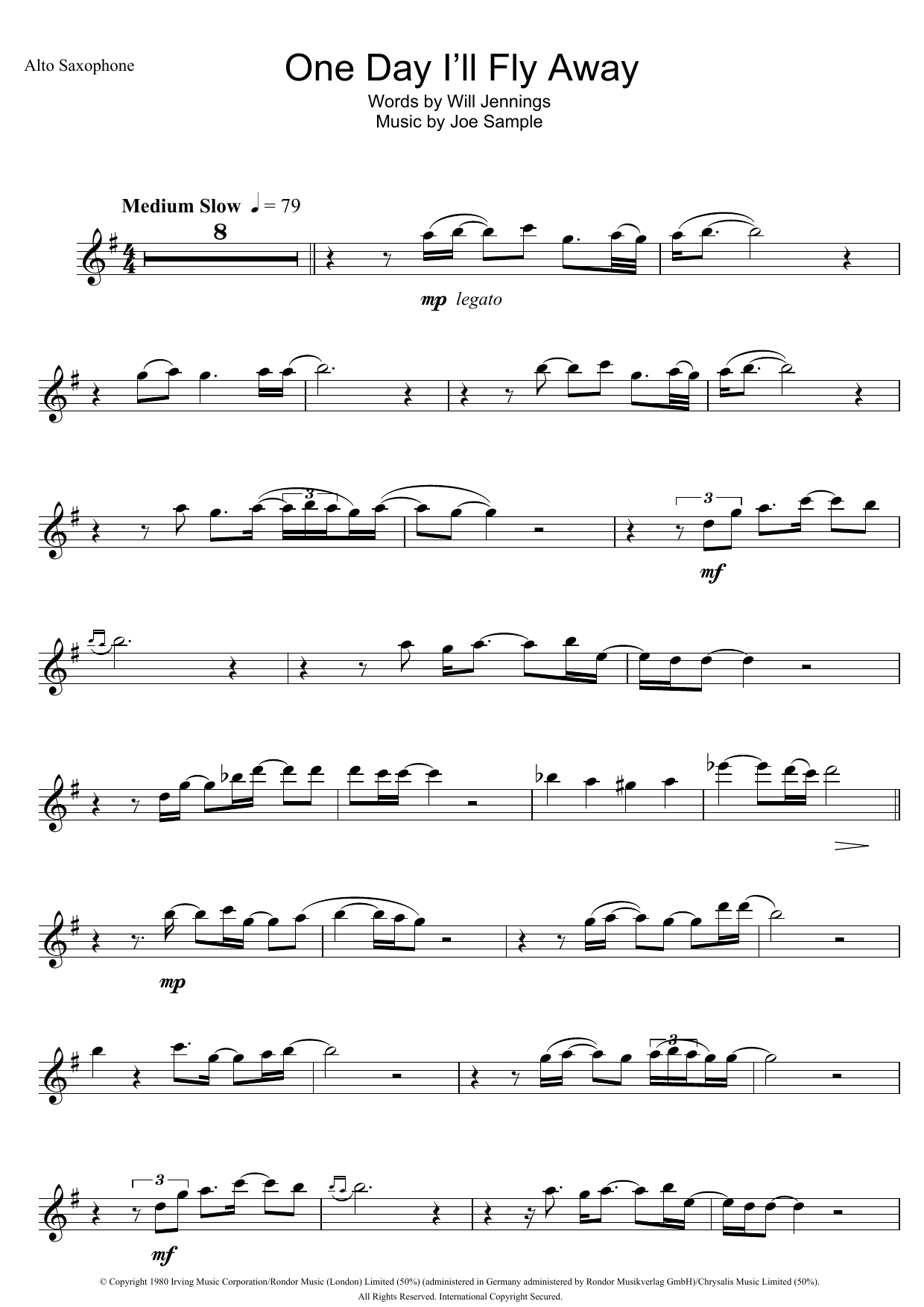 One day ill fly away sheet music direct one day ill fly away hexwebz Image collections
