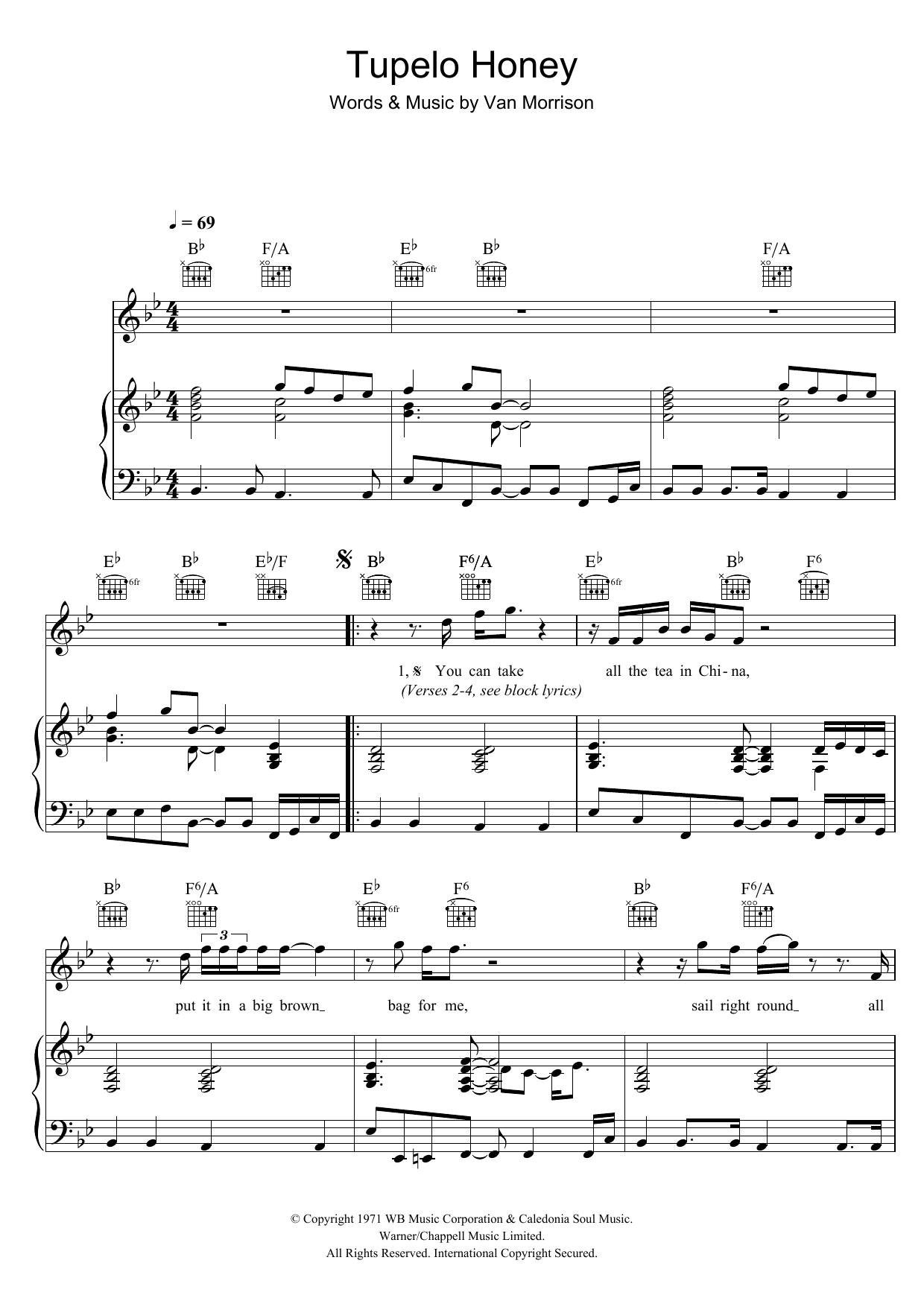 Tupelo Honey Van Morrison Piano Vocal Guitar