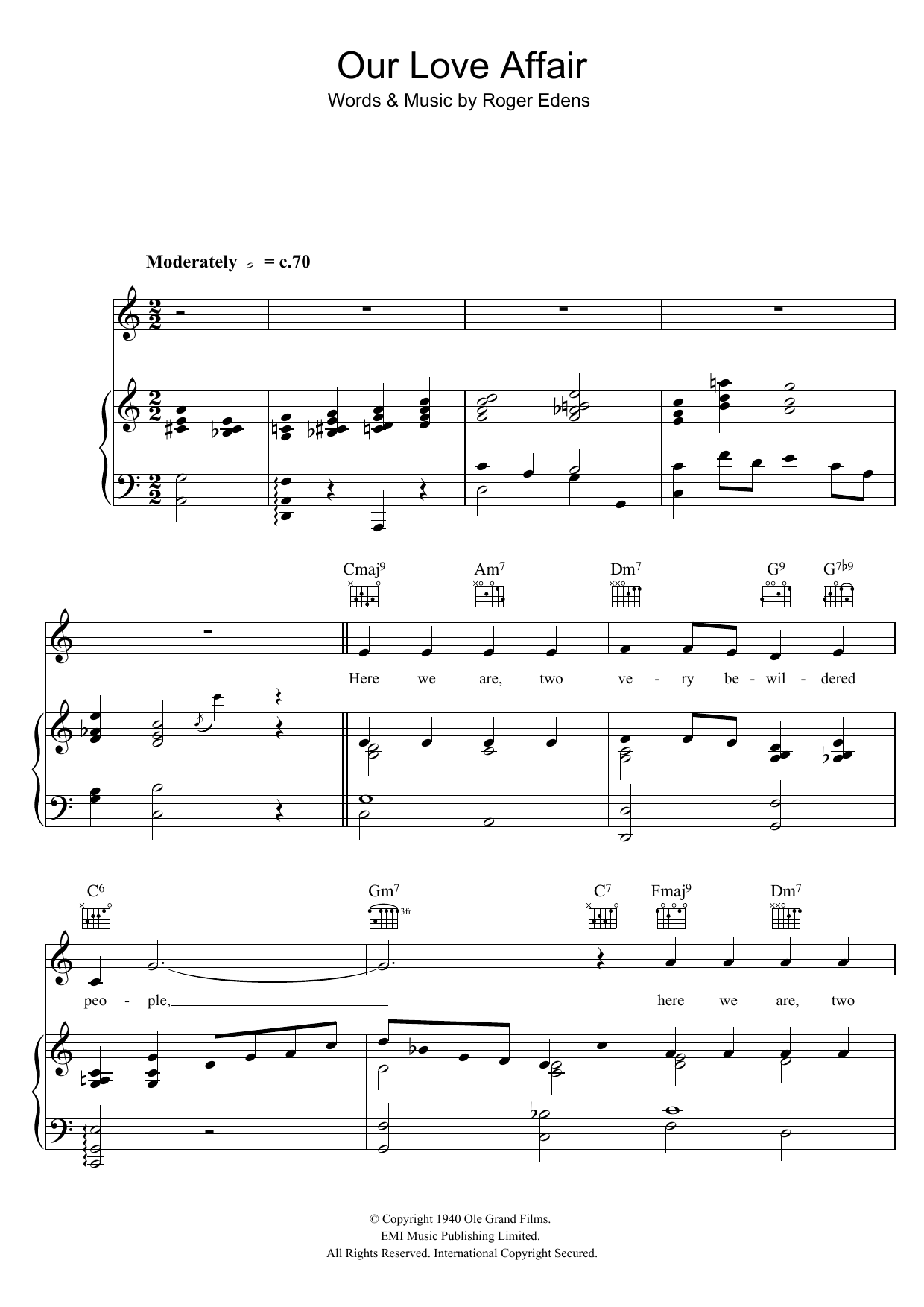 Our Love Affair Sheet Music