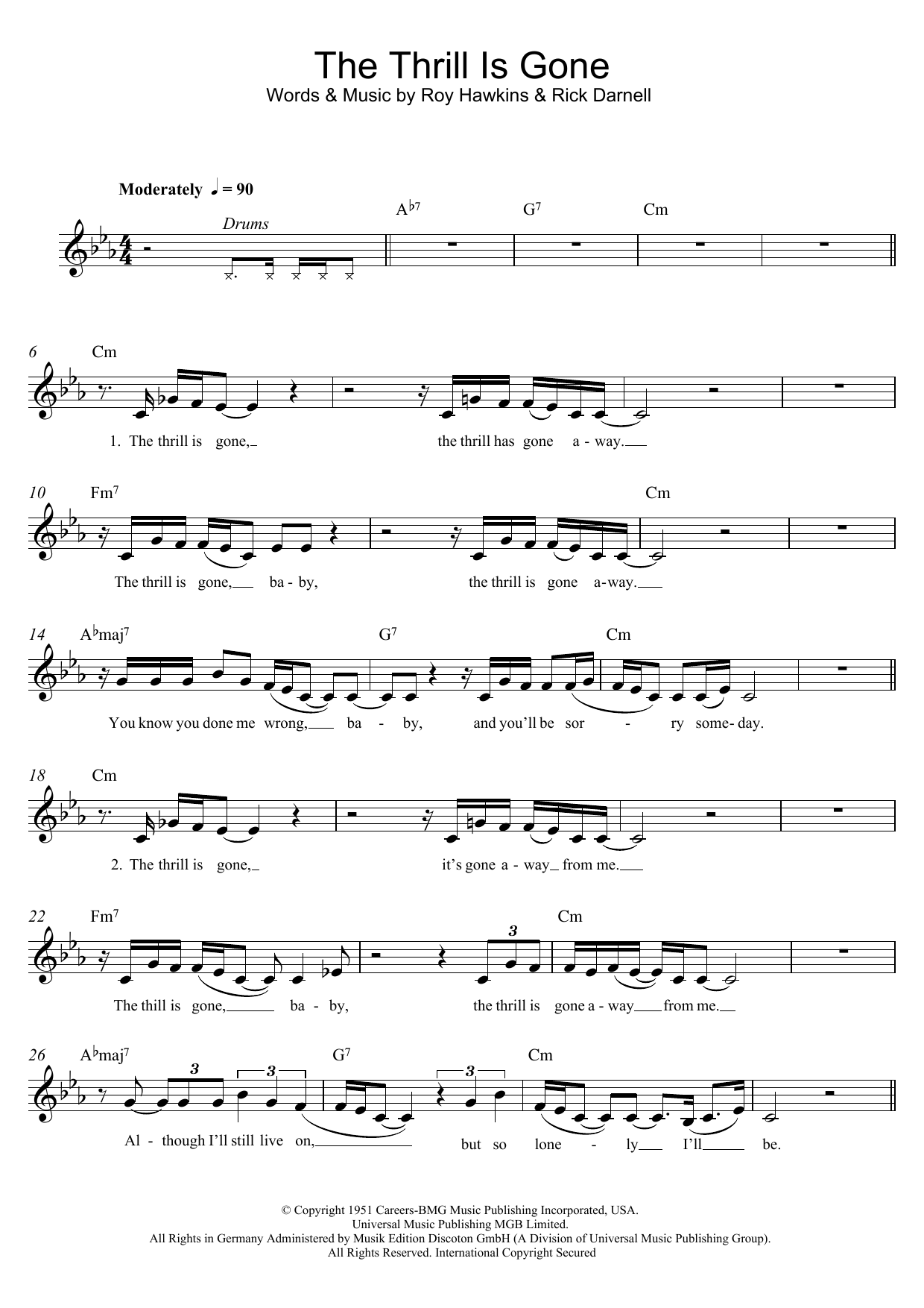 The Thrill Is Gone Sheet Music Bb King Melody Line Lyrics