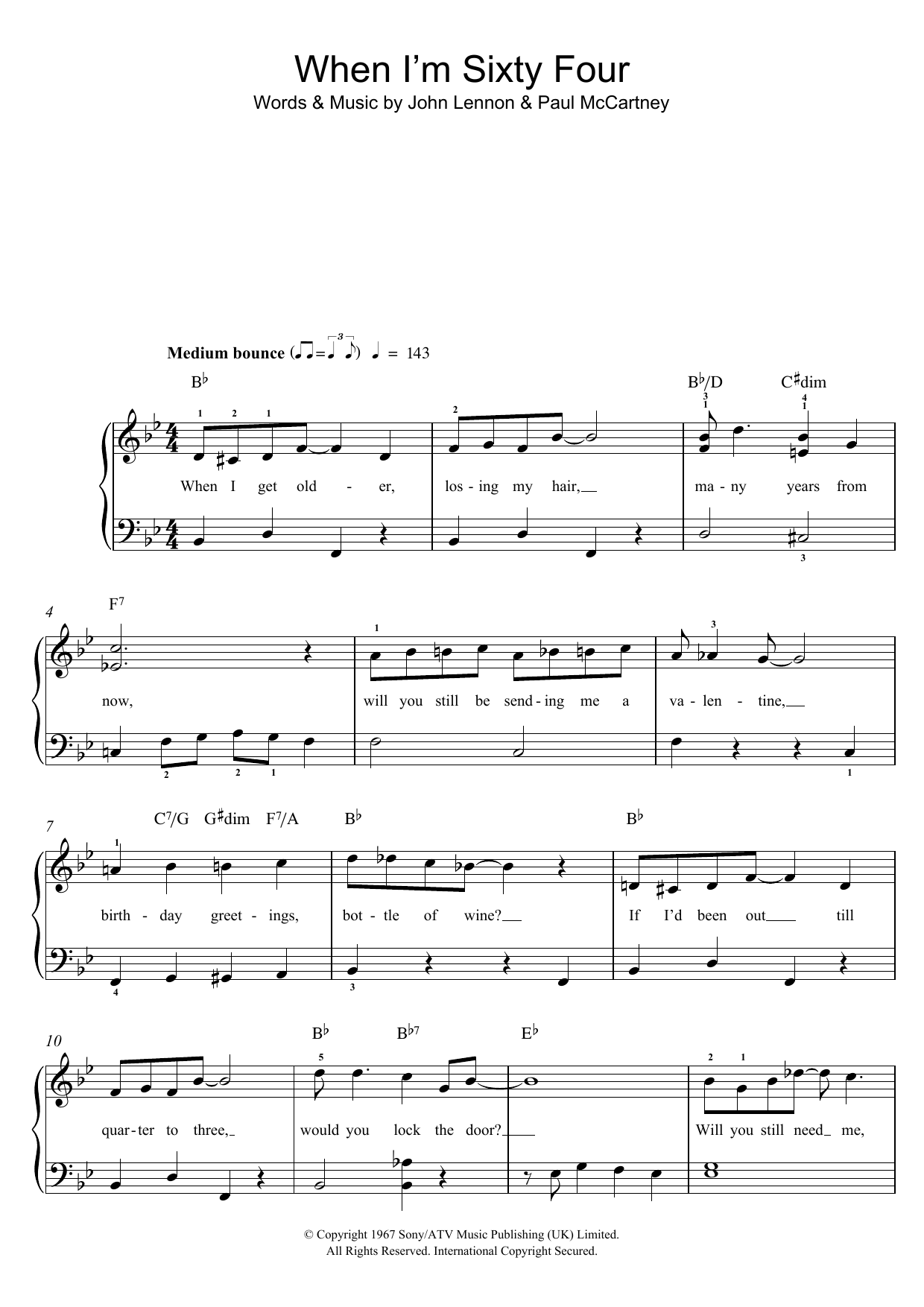 SATB Piano Accompaniment Sheet Music Vo The Beatles: When I/'m Sixty-Four SATB