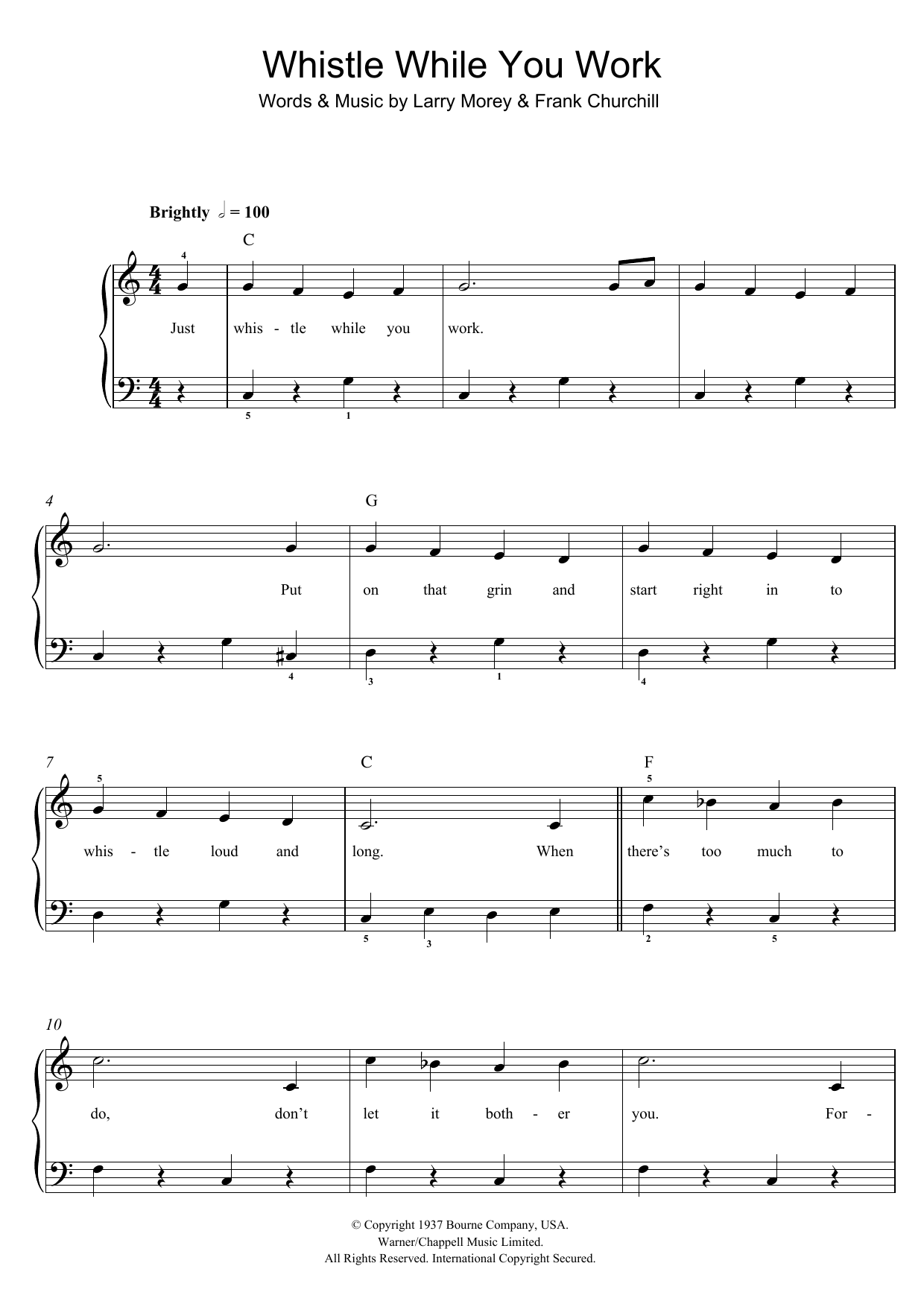 Whistle While You Work (from Walt Disney's Snow White And The Seven Dwarfs) Sheet Music