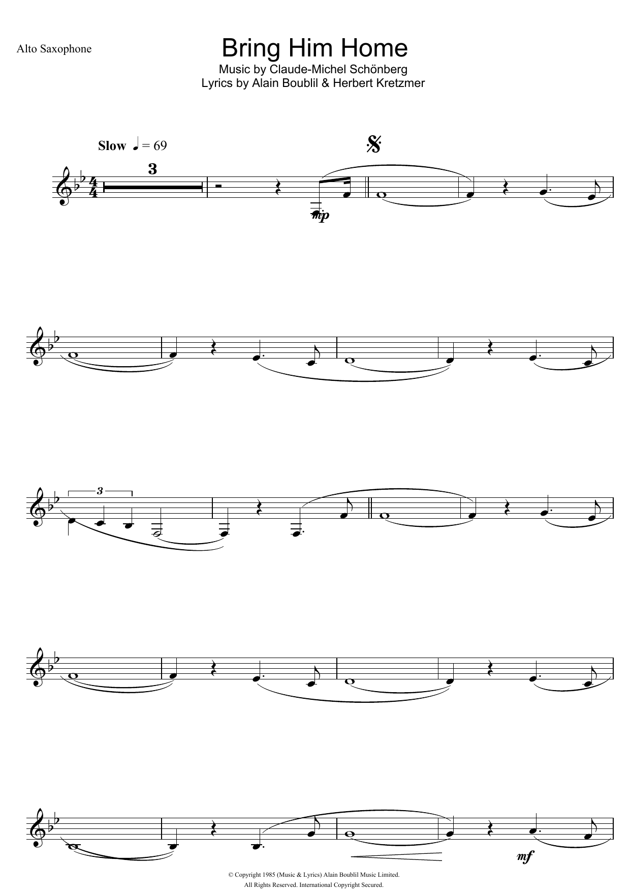 Bring Him Home (from Les Miserables) by Boublil and Schonberg Alto Sax Solo  Digital Sheet Music