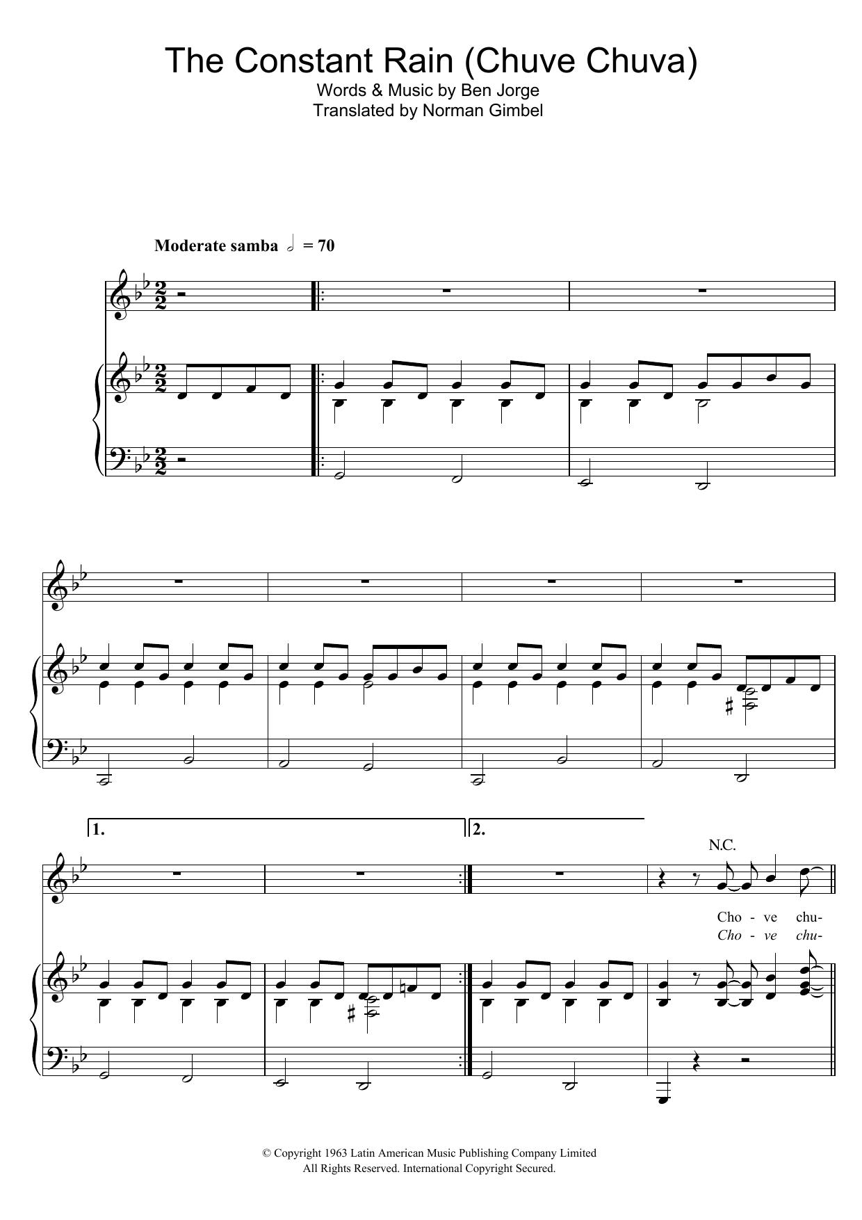 The Constant Rain (Chove Chuva) (Piano, Vocal & Guitar)