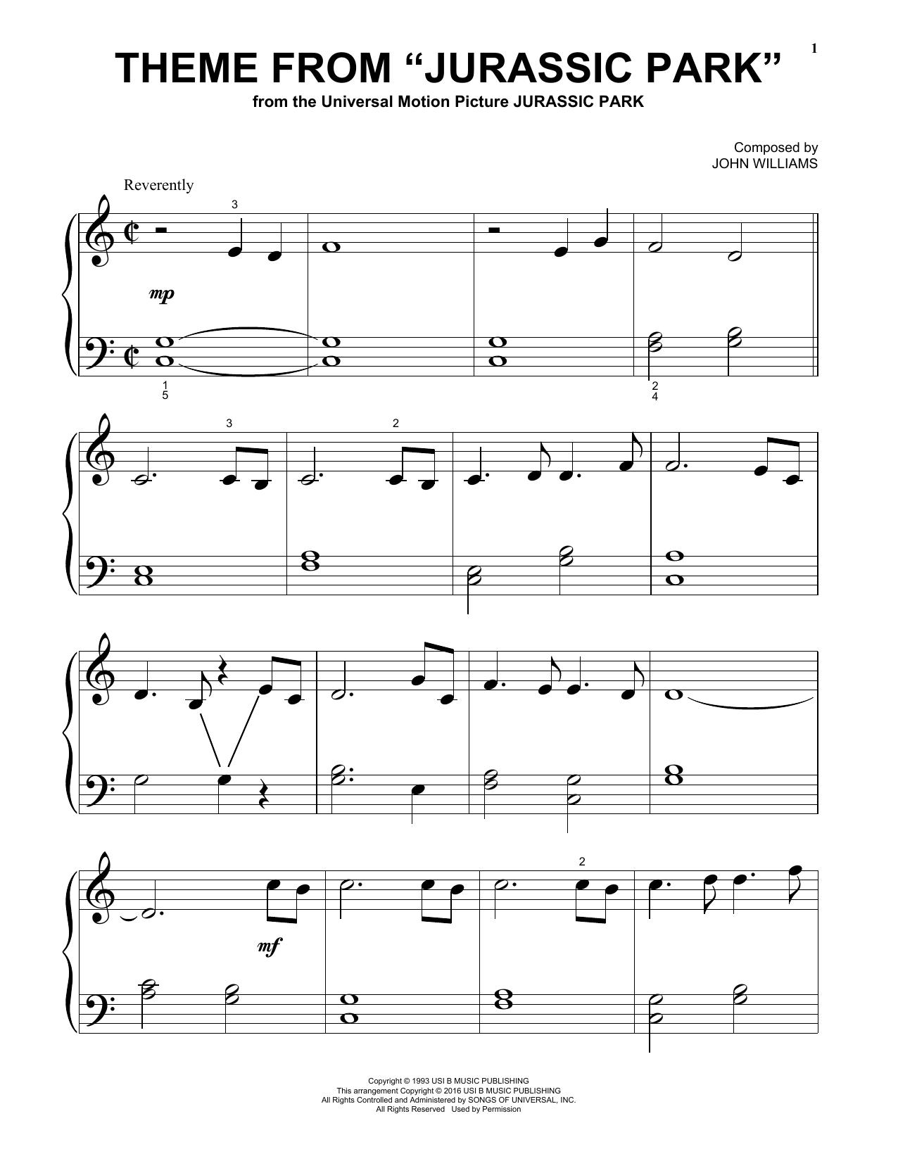 Partition autre Theme From Jurassic Park de John Williams - Piano Facile