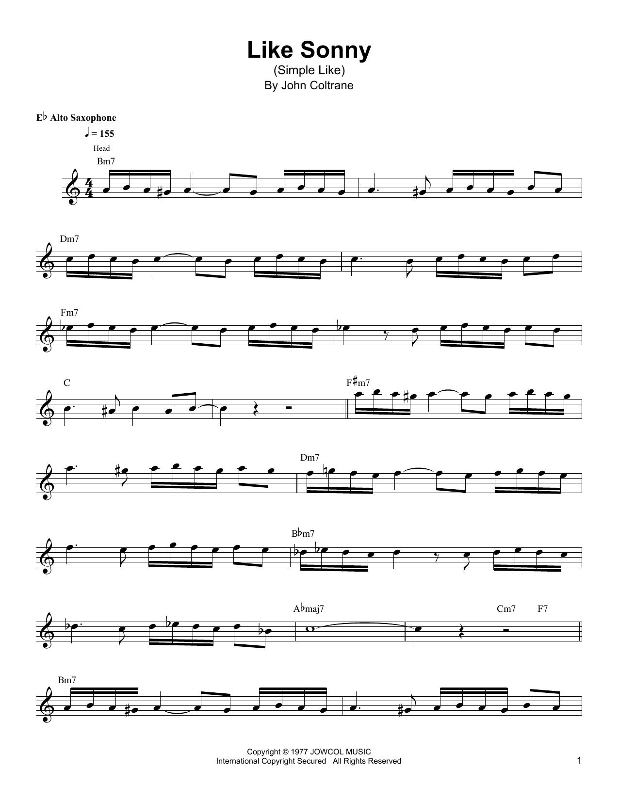 Like Sonny (Simple Like) (Alto Sax Transcription)