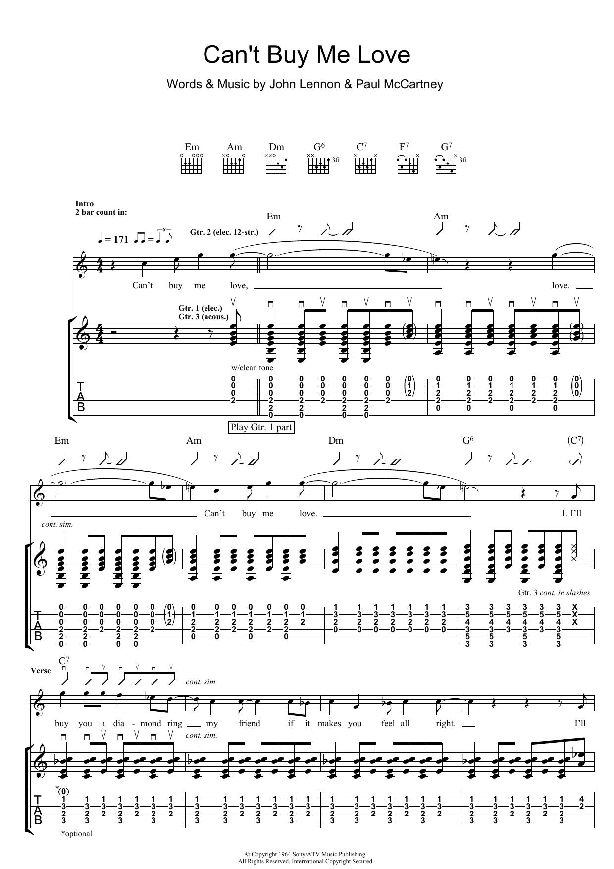 Can't Buy Me Love (Guitar Tab)
