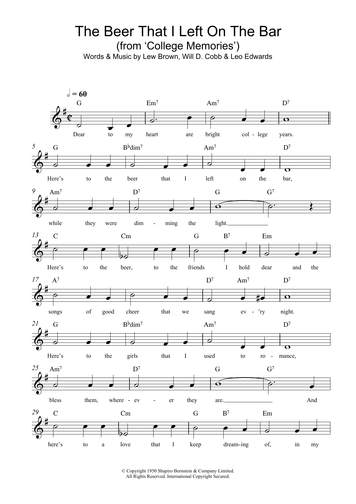 The Beer That I Left On The Bar (College Memories) Sheet Music