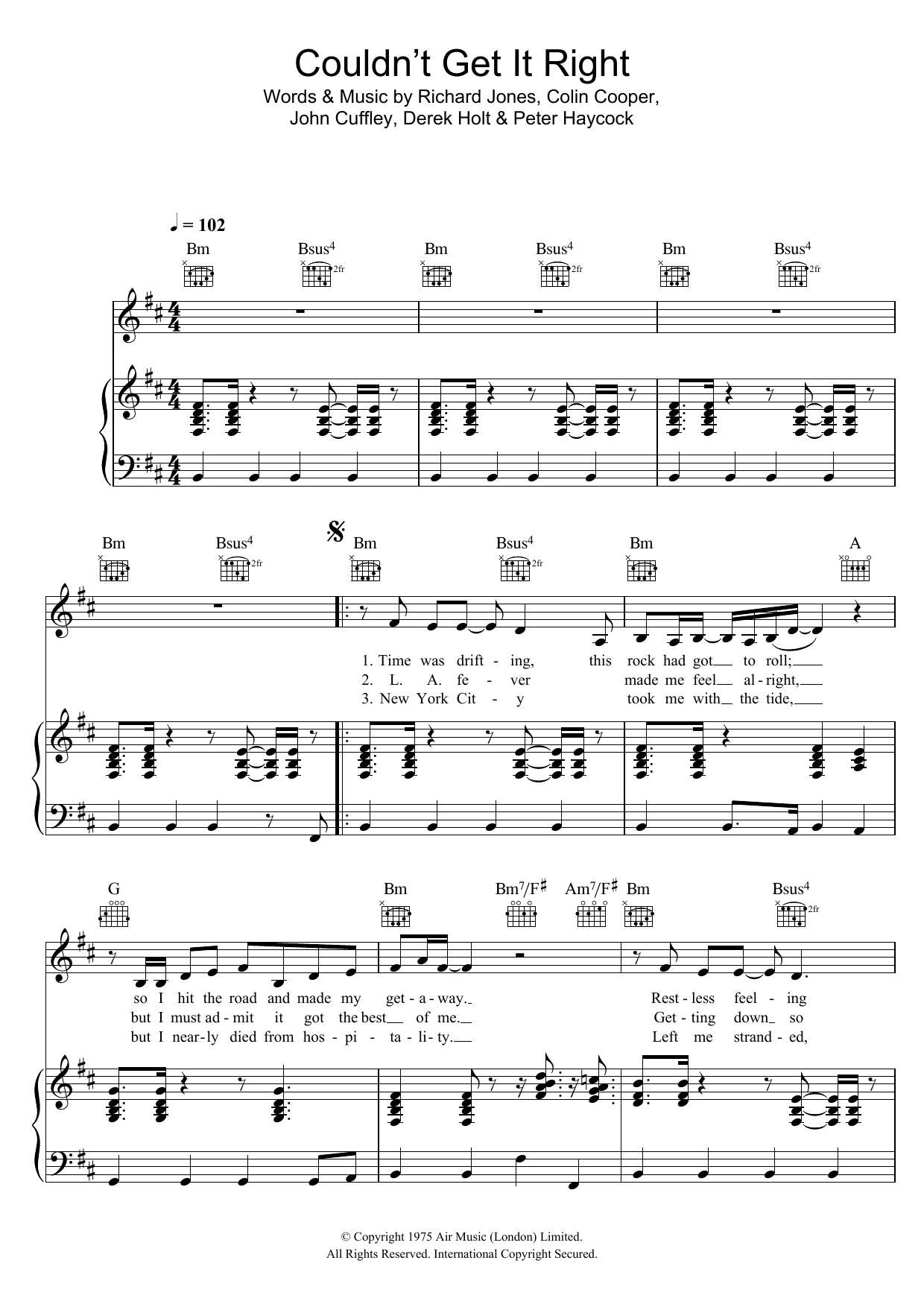 Couldnt Get It Right Climax Blues Band Piano Vocal Guitar