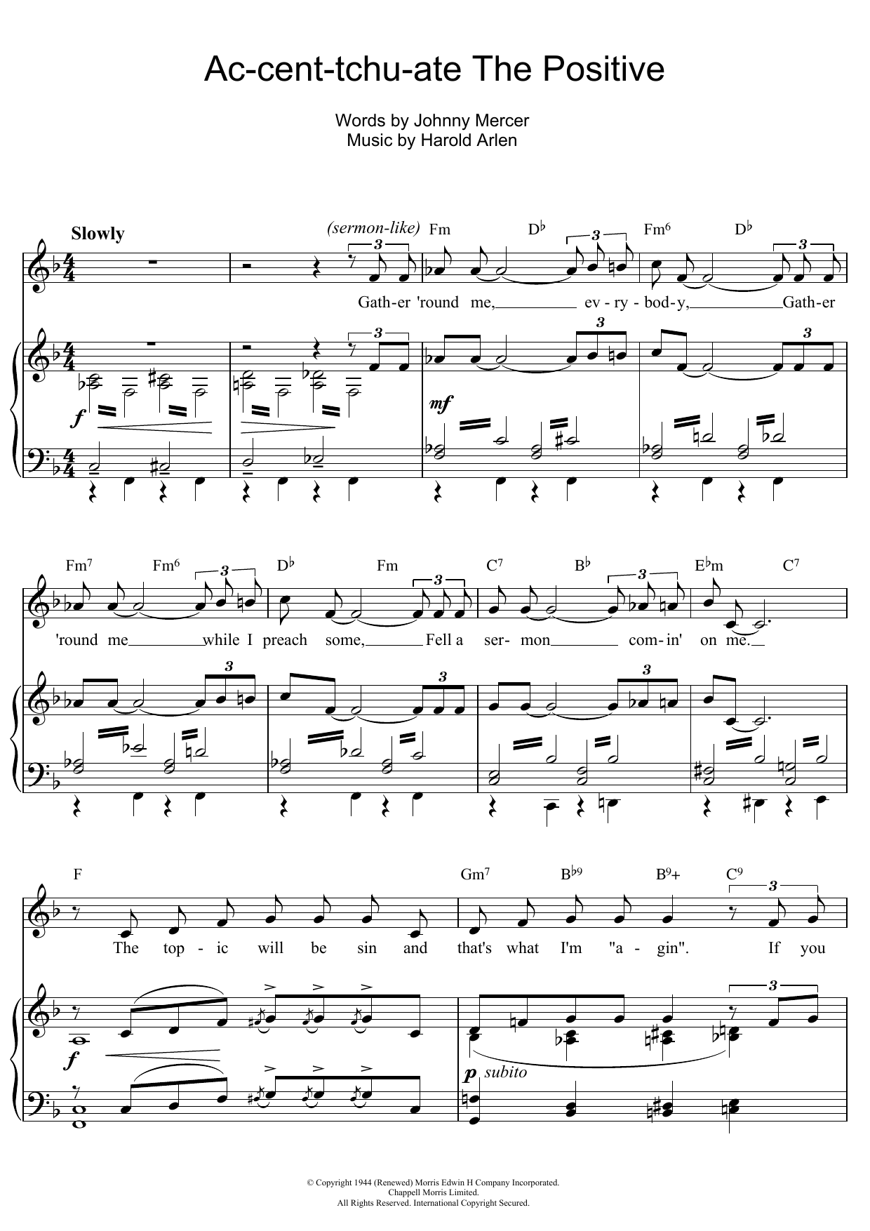 Ac-cent-tchu-ate The Positive Sheet Music