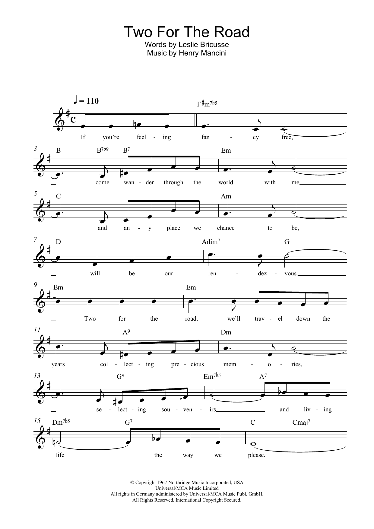Two For The Road Henry Mancini Melody Line Lyrics Chords