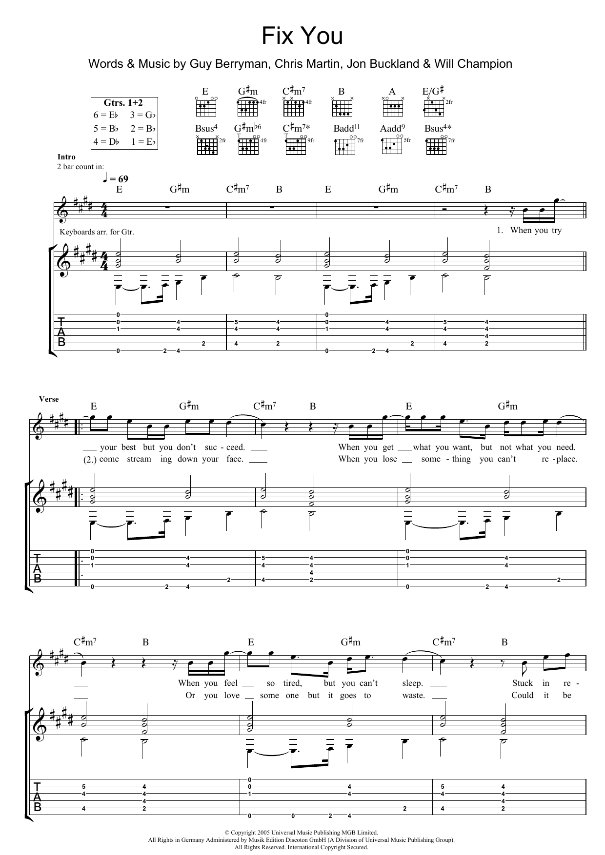 Fix You by Coldplay - Guitar Tab - Guitar Instructor
