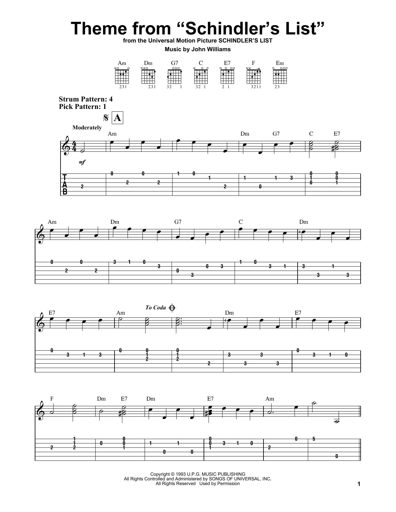 Tablature guitare Theme From Schindler's List de John Williams - Tablature guitare facile