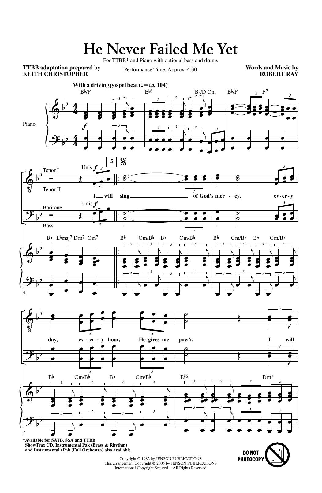 He Never Failed Me Yet (arr. Keith Christopher) (TTBB Choir)