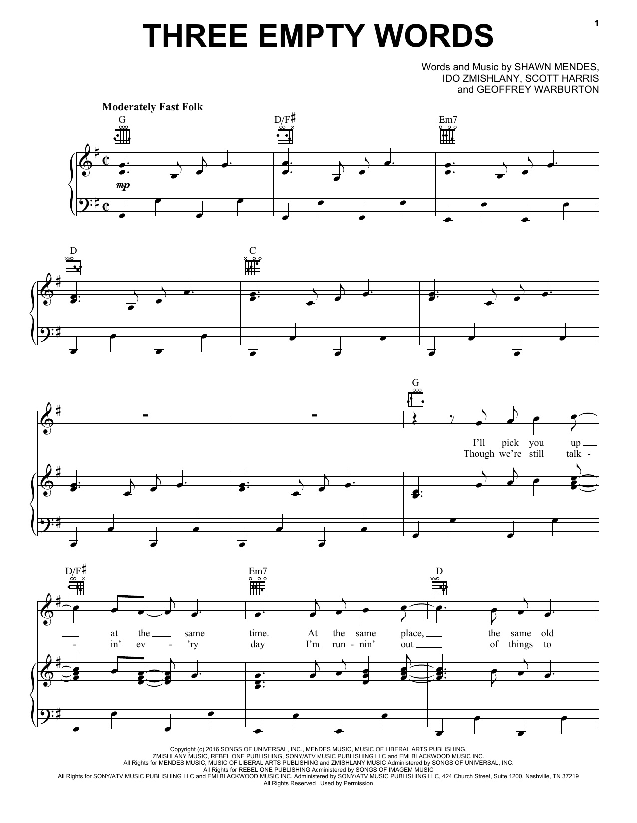 Three Empty Words (Piano, Vocal & Guitar (Right-Hand Melody))