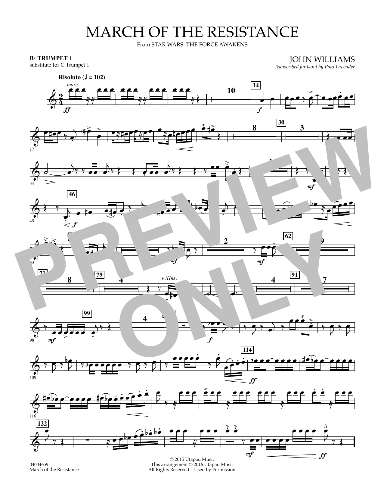 March of the Resistance - Bb Trumpet 1 (sub. C Tpt. 1 - - Bb Trumpet 1 (sub. C Tpt. 1) Sheet Music