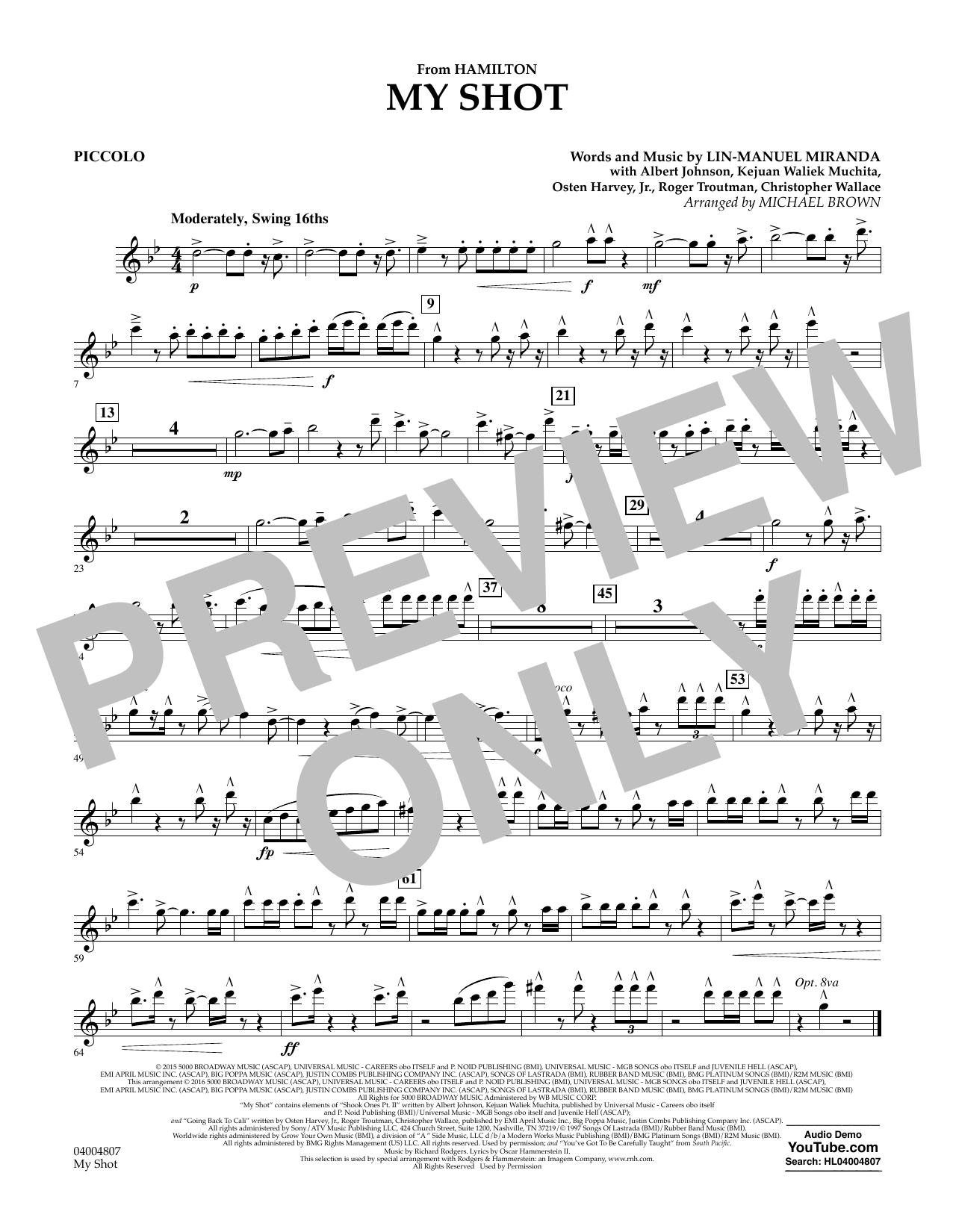 My Shot (from Hamilton) - Piccolo Sheet Music