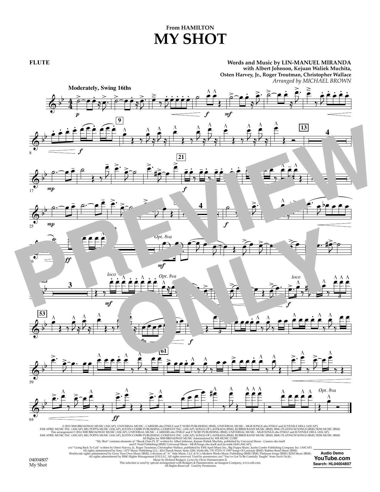 My Shot (from Hamilton) (arr. Michael Brown) - Flute (Concert Band)