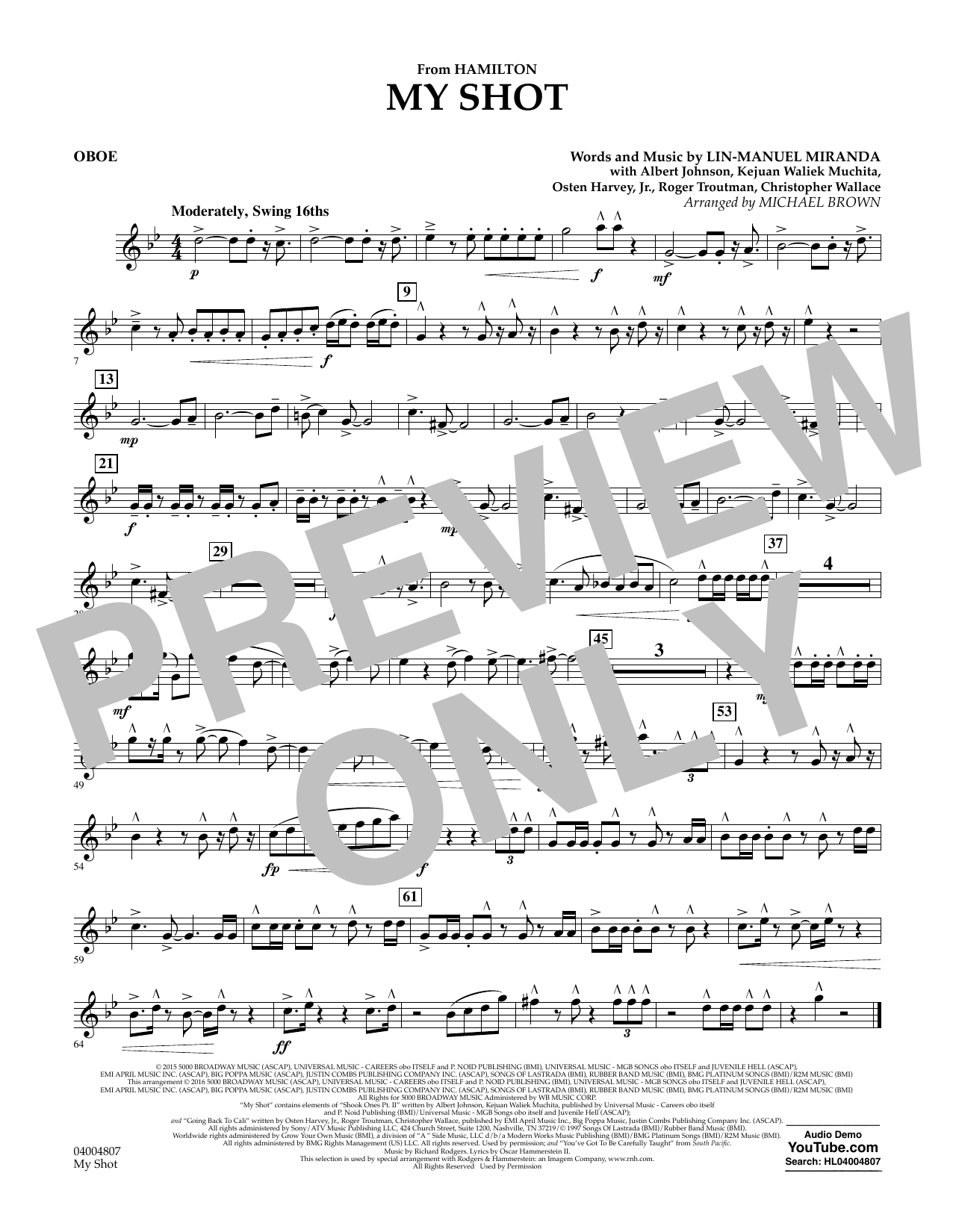 My Shot (from Hamilton) - Oboe Sheet Music