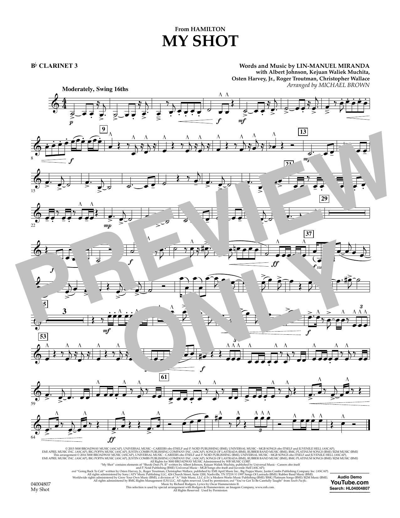 My Shot (from Hamilton) - Bb Clarinet 3 Sheet Music
