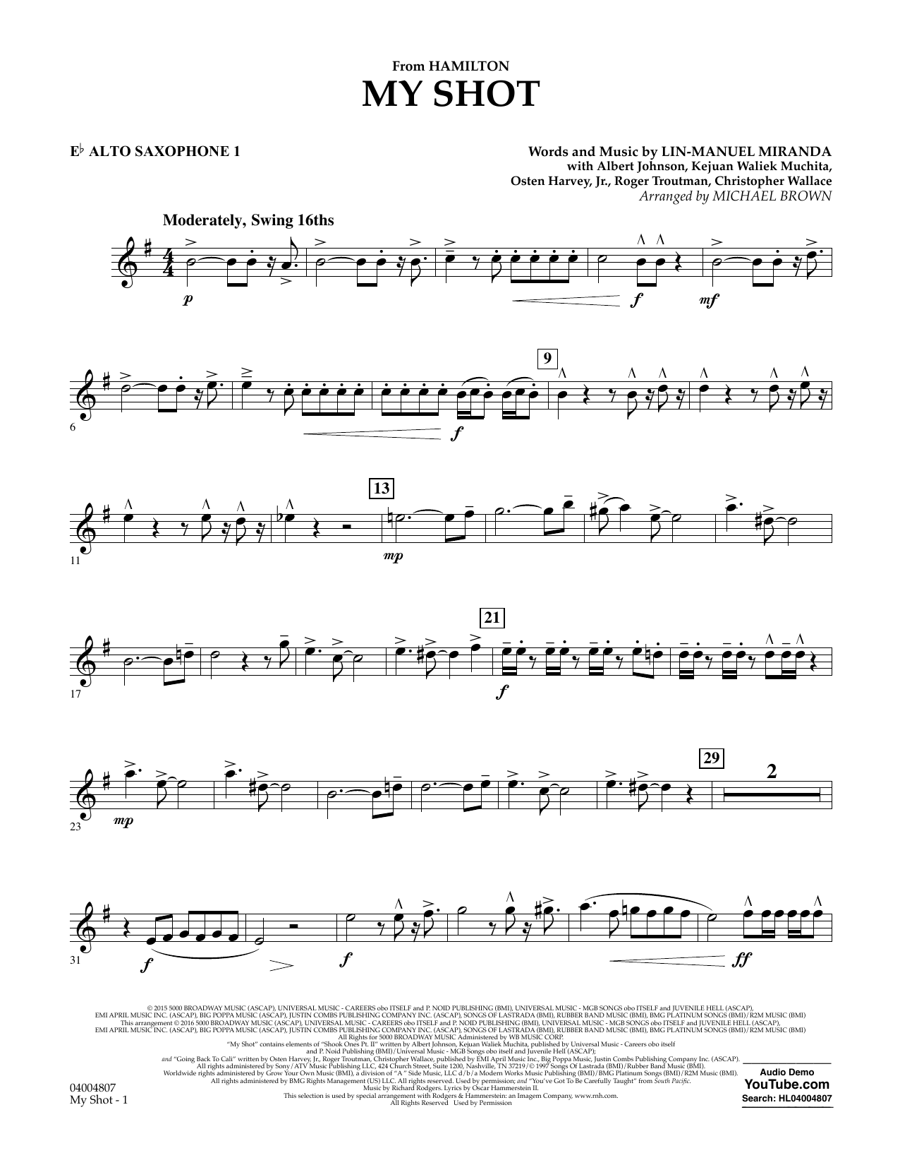 My Shot (from Hamilton) (arr. Michael Brown) - Eb Alto Saxophone 1 (Concert Band)