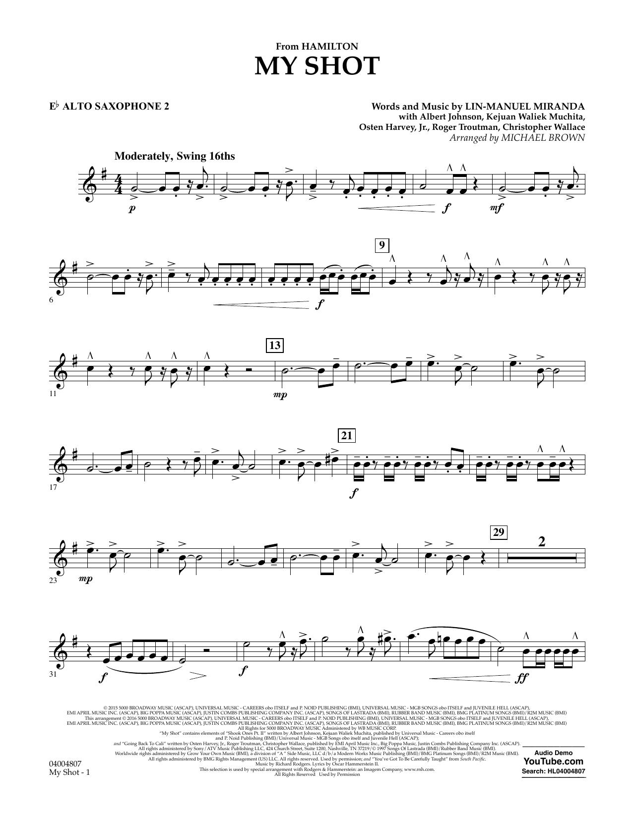 My Shot (from Hamilton) - Eb Alto Saxophone 2 Sheet Music