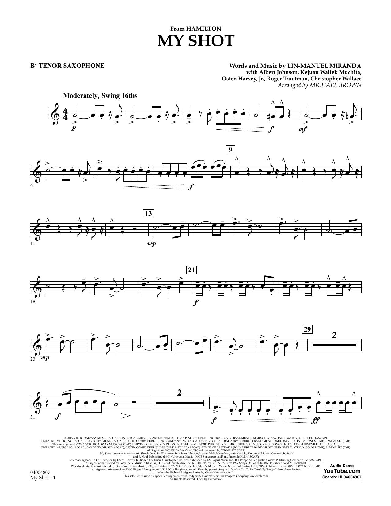 My Shot (from Hamilton) (arr. Michael Brown) - Bb Tenor Saxophone (Concert Band)