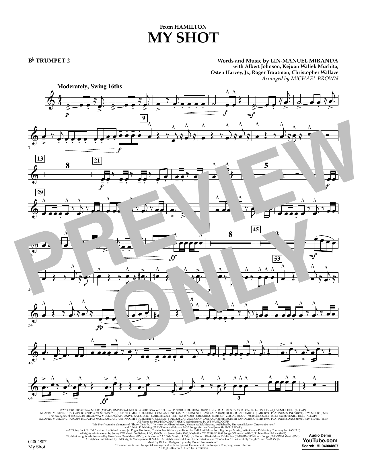 My Shot (from Hamilton) - Bb Trumpet 2 Sheet Music