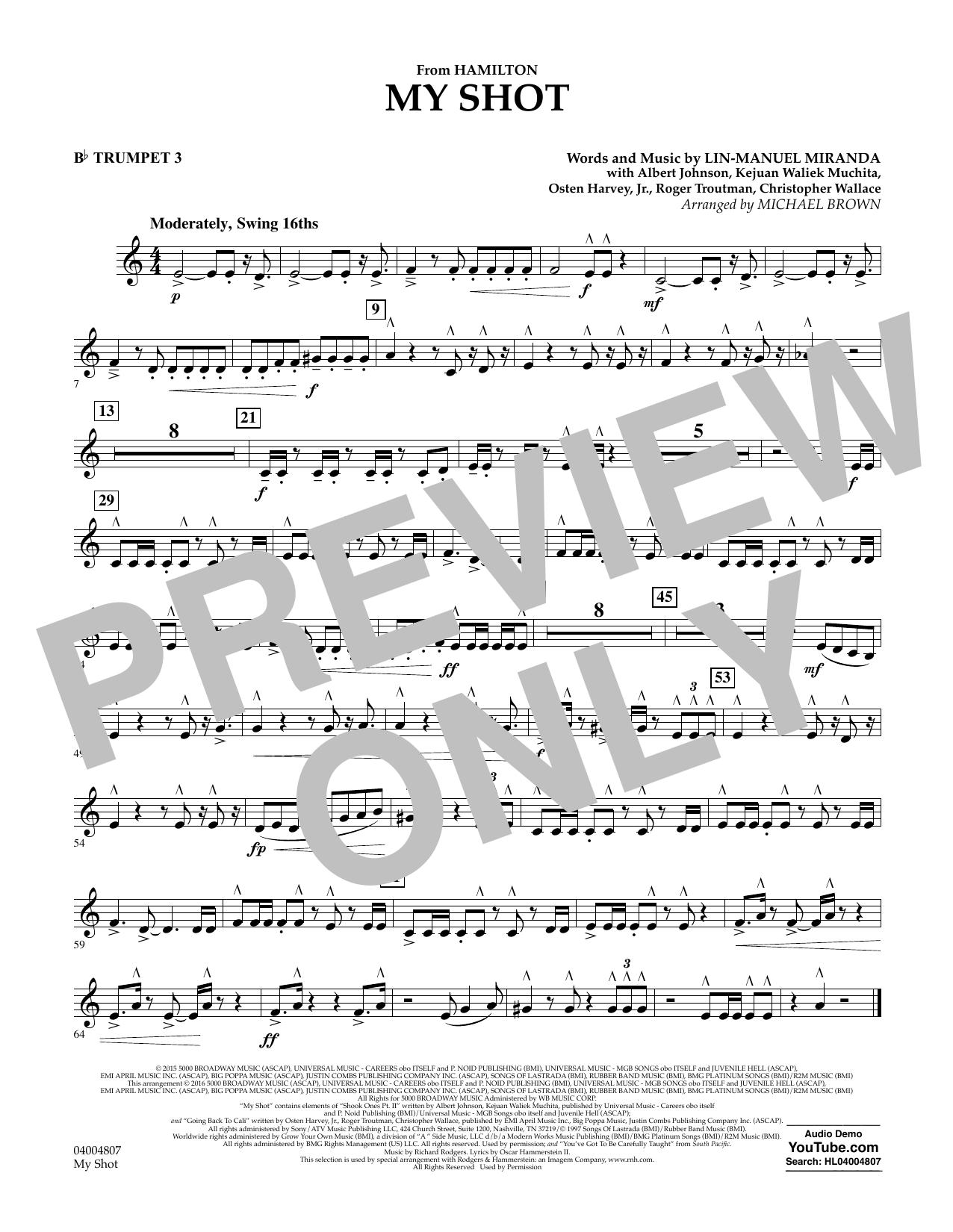 My Shot (from Hamilton) - Bb Trumpet 3 Sheet Music