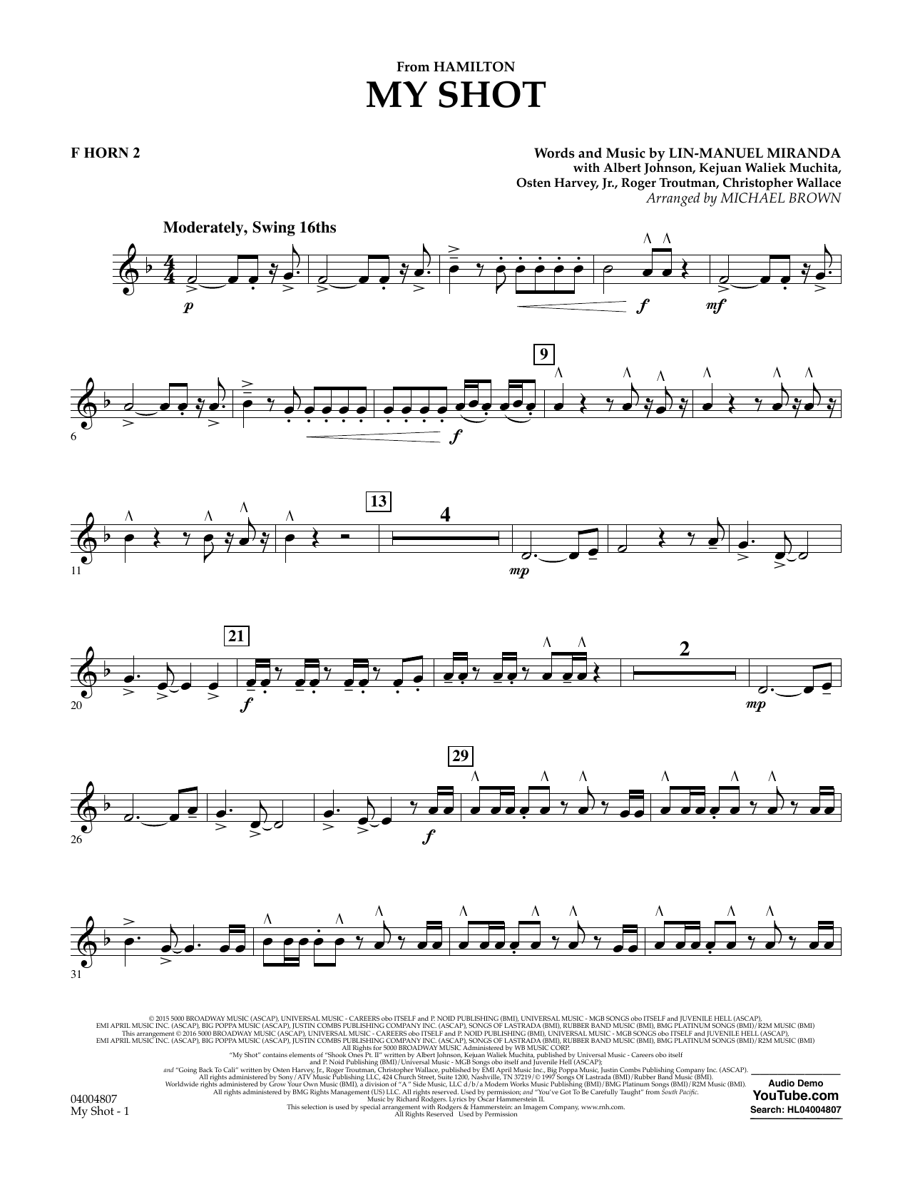 My Shot (from Hamilton) (arr. Michael Brown) - F Horn 2 (Concert Band)