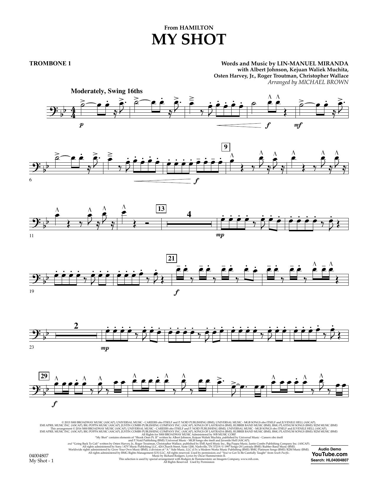 My Shot (from Hamilton) - Trombone 1 Sheet Music