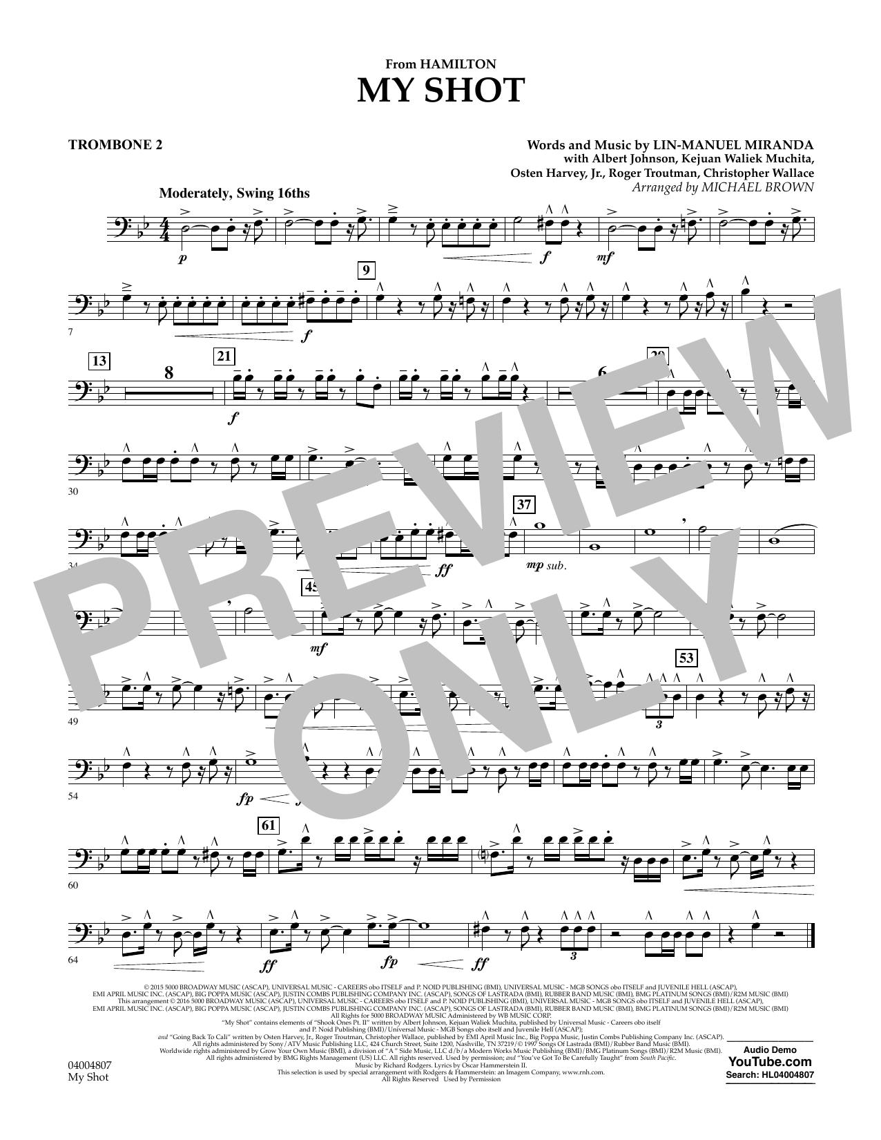 My Shot (from Hamilton) - Trombone 2 Sheet Music