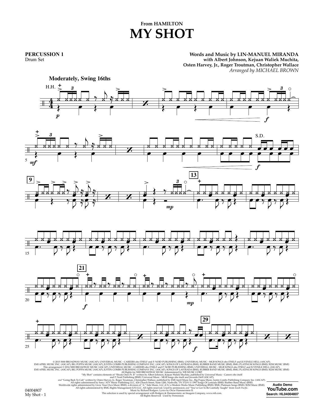 My Shot (from Hamilton) - Percussion 1 Sheet Music