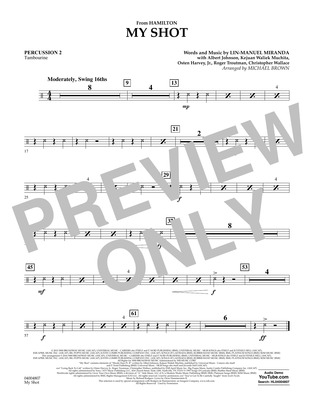 My Shot (from Hamilton) (arr. Michael Brown) - Percussion 2 (Concert Band)