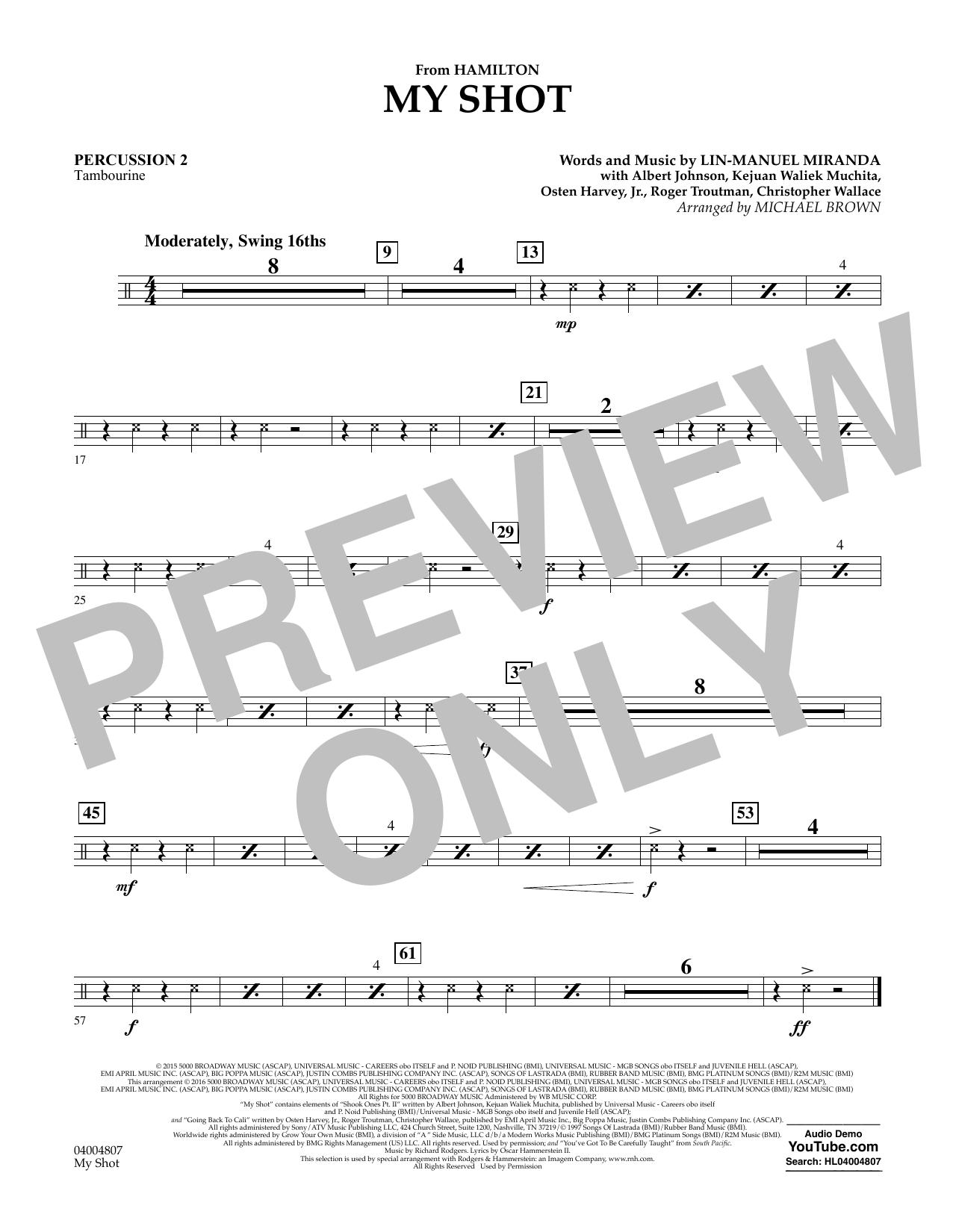 My Shot (from Hamilton) - Percussion 2 Sheet Music