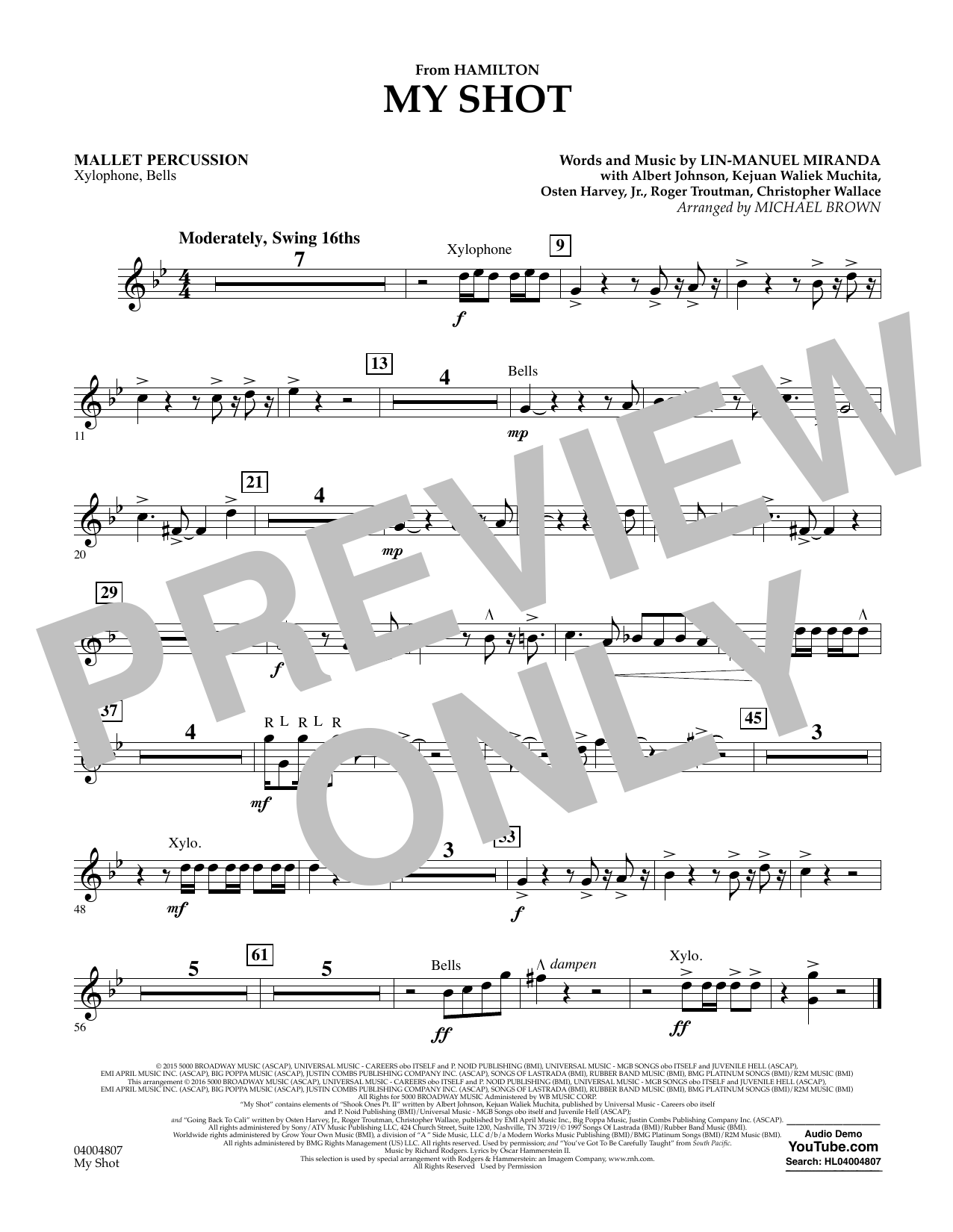 My Shot (from Hamilton) - Mallet Percussion Sheet Music