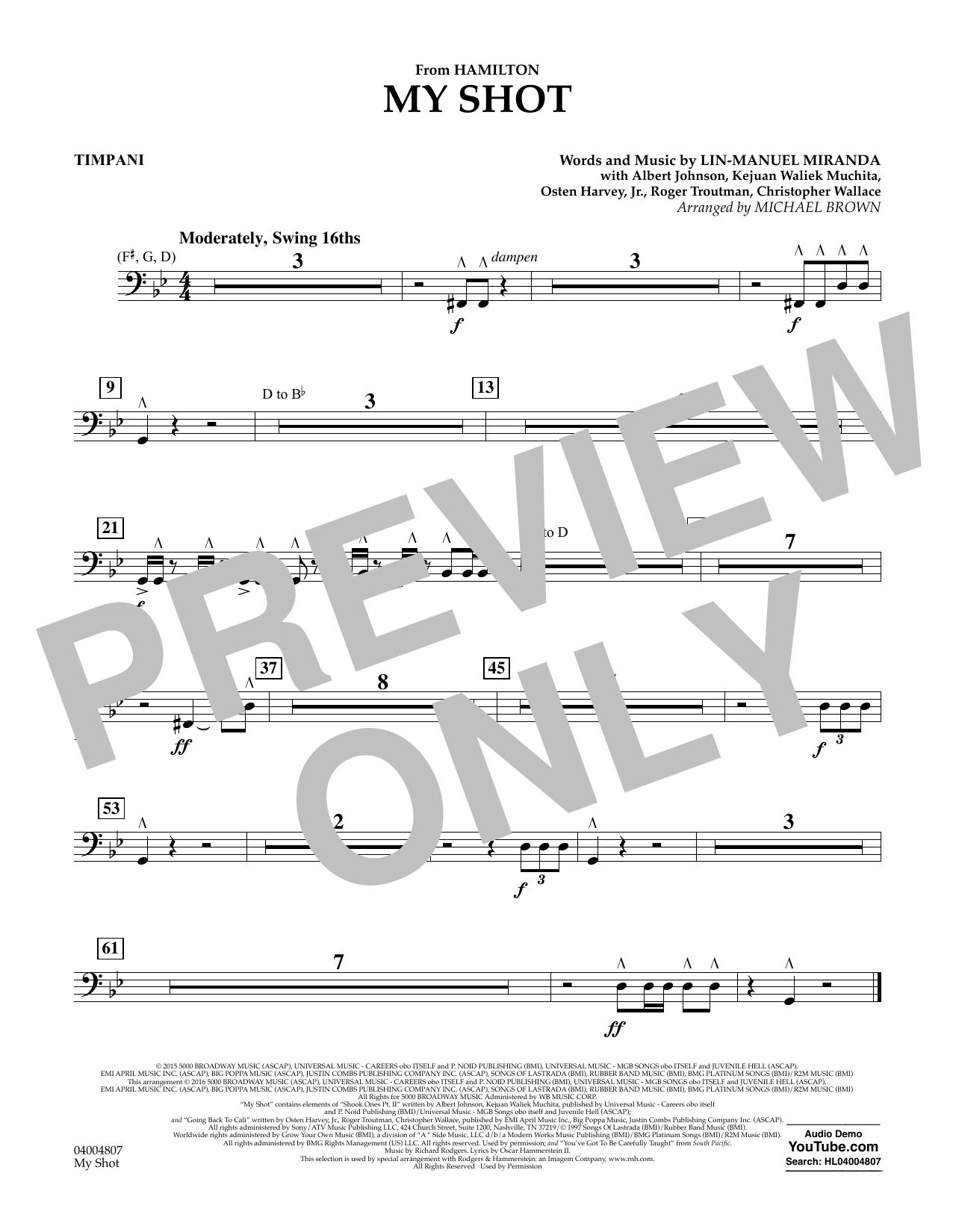 My Shot (from Hamilton) (arr. Michael Brown) - Timpani (Concert Band)