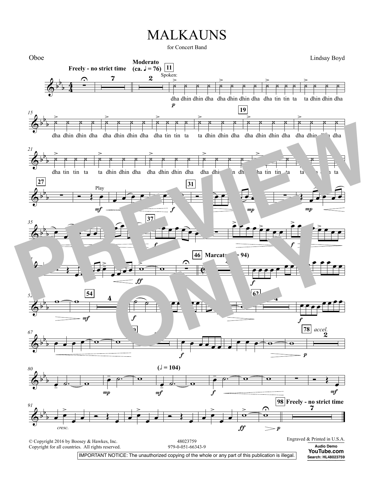 Malkauns - Oboe Sheet Music