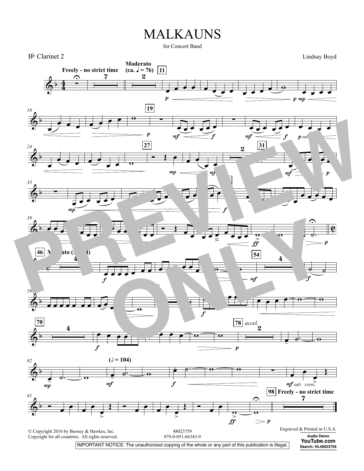 Malkauns - Bb Clarinet 2 Sheet Music