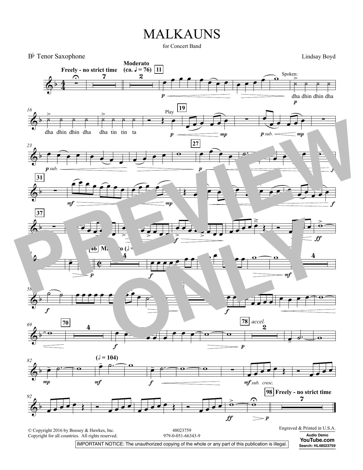 Malkauns - Bb Tenor Saxophone Sheet Music