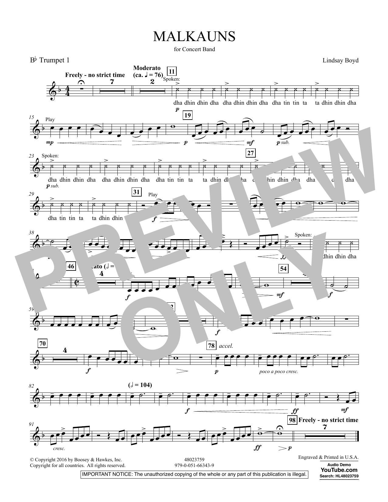 Malkauns - Bb Trumpet 1 Sheet Music