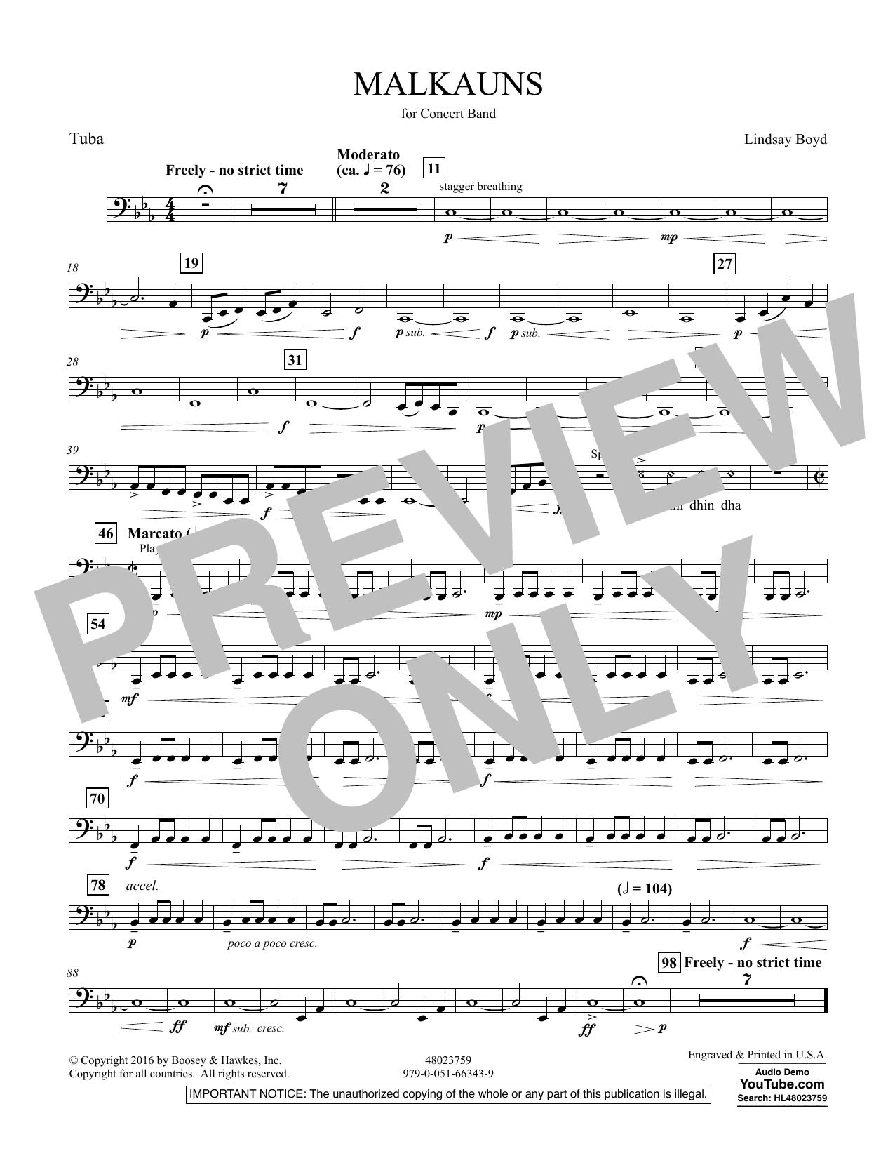 Malkauns - Tuba Sheet Music