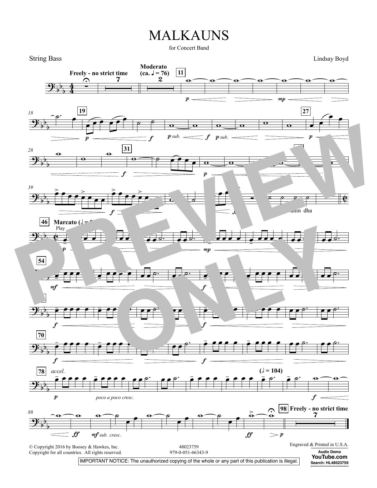 Malkauns - String Bass Sheet Music