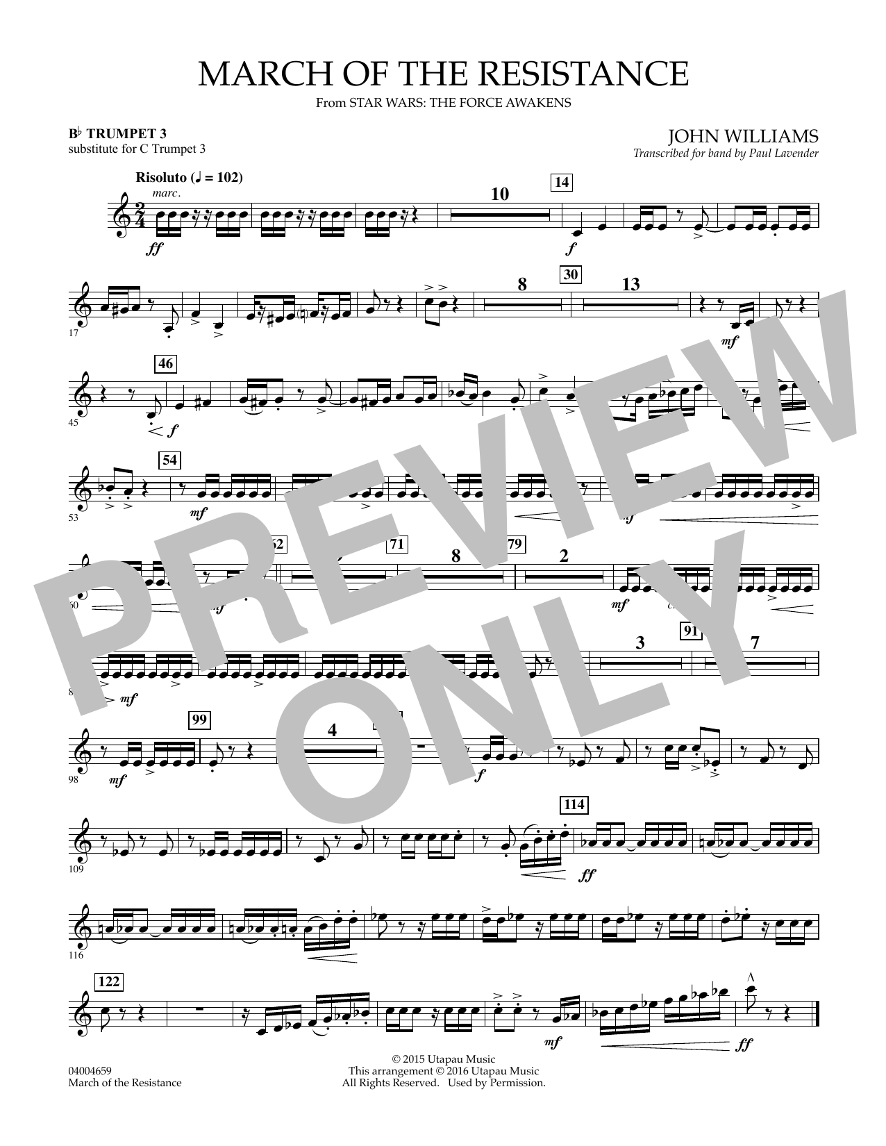 March of the Resistance - Bb Trumpet 1 (sub. C Tpt. 1 - - Bb Trumpet 3 (sub. C Tpt. 3) Sheet Music